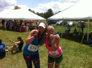 My friend Crystal and I at the finish!  Shout out to Crystal for achieving her goal of sub 4!