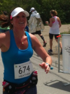 Racing for the finish line...still smiling!
