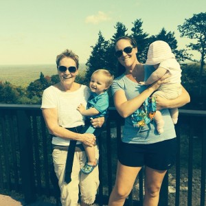 My Mom and I with the kids at the top of Mount Agamenticus in Maine