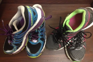 "Both ""retired"" Gel-Kayanos that got me through running while pregnant and marathon training"