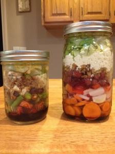 Size comparison of the large vs. smaller mason jar